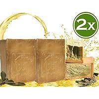 Jabón original Aleppo 2x200g 50% aceite de oliva 50% aceite de laurel jabón para el cabello de ducha
