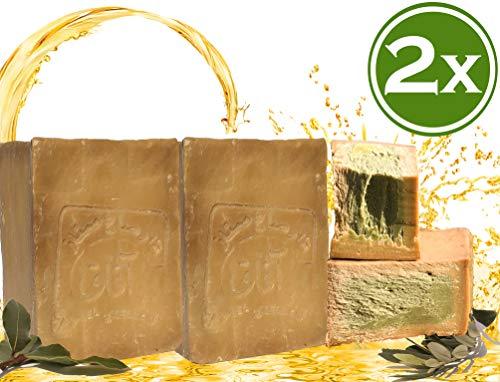 E4U Original Aleppo Seife 2x 200 g 50% Olivenöl 50% Lorbeeröl Original Olivenölseife PH Wert 8, Haarseife, Duschseife, Detox Eigenschaften, Veganes, Handgeschnitten