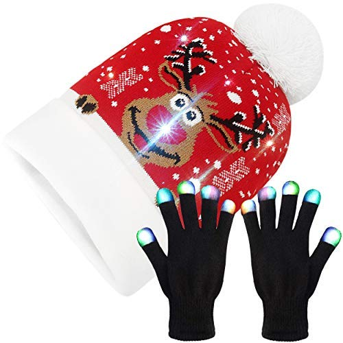 LED Light Up Christmas Hat and Gloves - Xmas Beanie Knit Novelty Cap - Ugly Sweater Holiday Theme (Reindeer Face)
