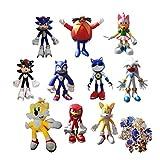 Sonic Big Suit 9 Stück/Set Figur + 1 Plüschtier Blau Sonic Plüsch Spielzeug Niedlich Cartoon Igel...