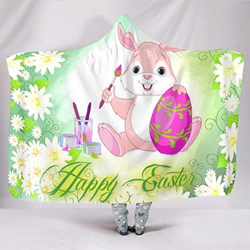 WellWellWell Manta con capucha para hombres y mujeres, diseño de huevos de Pascua, de fácil cuidado, color blanco, 130 x 150 cm