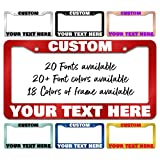Custom Personalized Any Color Any Text Design Novelty License Plate Frame/Holder Metal USA Car Tag Accessories US License Plate Covers Sign with 2 Holes 6.3x12.2 Inch