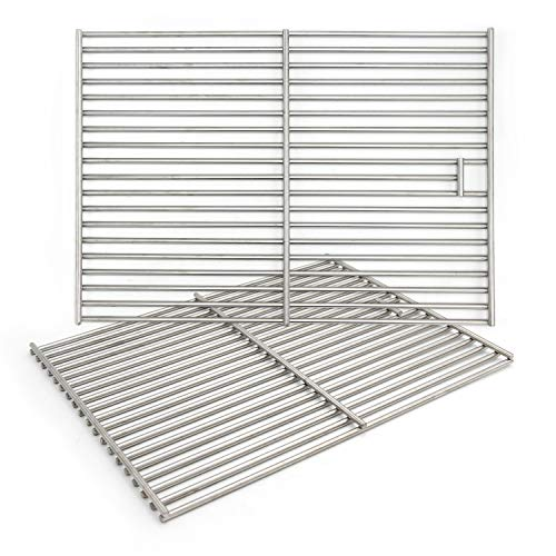 """Hongso 17 3/8"""" Solid 304 Grill Grates, Cooking Grids Replacement for Charbroil 466446015, 463241113, 463446017,466446015,466446115,463447018 Master Forge 1010037 Gas Grills, 2 Pieces,(SC1712)"""