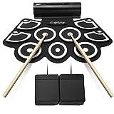 Lujex Tambour Electronique, Batterie Électronique 9 Pads Pliable Portable Professional Drum Pad Kits avec Haut-parleur Entertainment Instrument à Percussion pour Débutants et Enfants