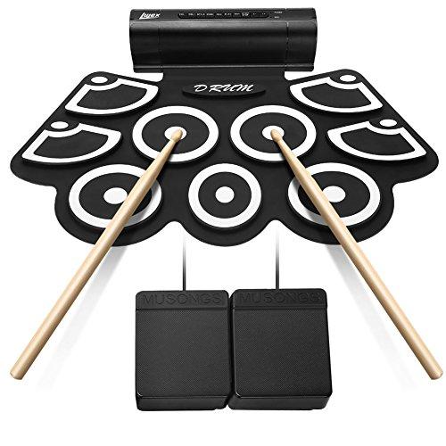 9 Pad Roll Up Drum Kit Tragbare Elektronische Drum Set Schlaginstrument mit Lautsprecher kann an Computer Angeschlossen Werden (Schwarz)