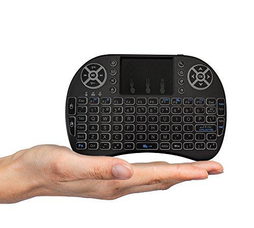 FMKRFL1-US32 - Mini Teclado inalámbrico con ratón Touchpad y Mando a Distancia de 2,4 GHz para Google Android Box, PC, Pad, Smart TV, Color Negro
