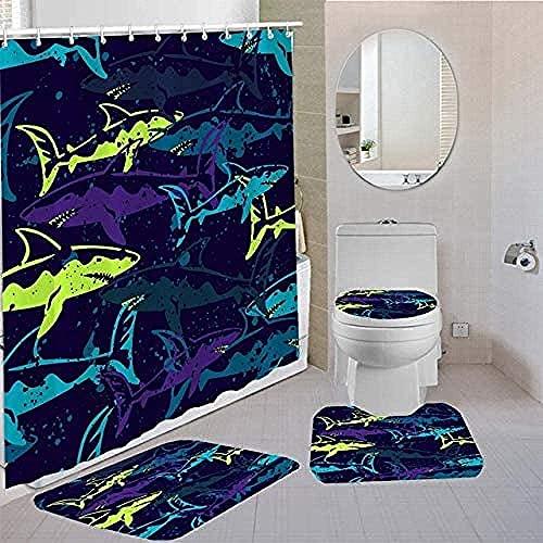 Conjunto Conjunto Baño Cortinas de Ducha Asiento de Inodoro de tiburón Alfombra Azul Baño