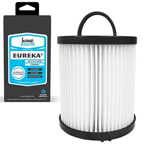 Eureka DCF-21 marca revolución hogar de repuesto reutilizable lavable filtro alérgeno; Hecha para Eureka vertical y velocidad del aire modelos verticales sin bolsa sanitario; Comparación con las de pieza Eureka #67821 y 68931