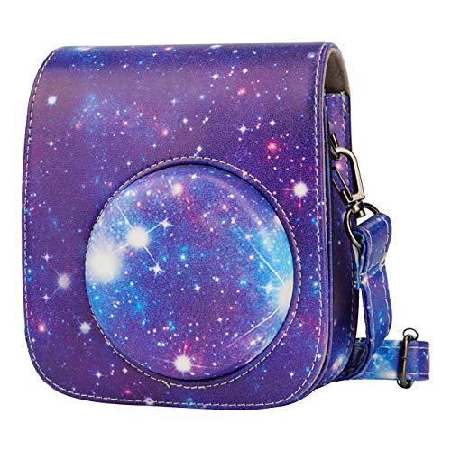 Blummy PU Leather Camera Case Compatible with Fujifilm Instax Mini 11 Instant Camera with Adjustable Strap and Pocket (Galaxy)