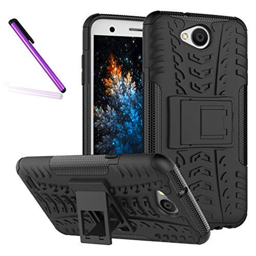 COTDINFORCA Case for LG Fiesta 2 Tyre Pattern Design Heavy Duty Tough Protection Case with Kickstand Shock Absorbing Detachable 2 in 1 Case Cover for LG X Charge/LG X Power 2 (2017). Hyun Black