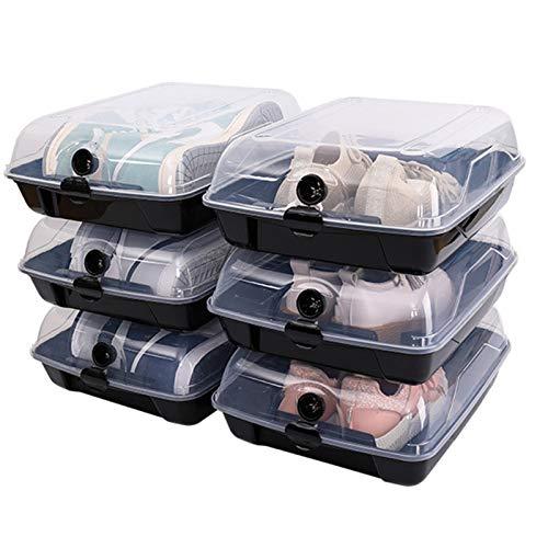 XIONGGG 6 Paquetes De Cajas De Zapatos De Plástico Transparente Apilables, Contenedores Organizadores De Zapatos con Tapas, Caja De Zapatos, Almacenamiento De Zapatillas,Negro