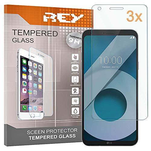 REY Pack 3X Panzerglas Schutzfolie für LG Q6 / Q6 Alpha / Q6 Plus, Bildschirmschutzfolie 9H+ Festigkeit, Anti-Kratzen, Anti-Öl, Anti-Bläschen
