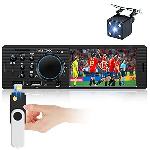 Estéreo para automóvil de un Solo DIN Pantalla táctil resistiva de 4 Pulgadas Radio Bluetooth FM para automóvil con Puertos duales USB / AUX/ Tarjeta SD + cámara de Respaldo + Control Remoto