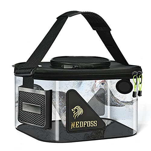 バッカン 釣り バケツ 透明 釣り 折りたたみバケツ NEDFOSS ふた付き 30cm エアーポンプ装着口ポケット 携帯に便利 ショルダーのストラップ調整可能 (S:30*20*20cm)