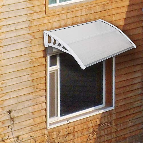 YUJISO Door Awning - Window Door Awning, Household Application Rain Cover Eaves Transparent Board & White Holder for Rain, Snow Protection