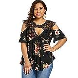 Rosegal Übergröße Top Blumen Flare-Ärmel Beiläufig T-Shirt Kalte Schulter Bluse für Frauen (2XL, Schwarz)