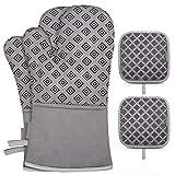 Ofenhandschuhe und Topflappen 4er Set - 260°C Hitzebeständig Ofenhandschuhe Anti-Rutsch Silikon Topfhandschuhe Backhandschuhe Kochhandschuhe Ofen Handschuhe für die Küche Kochen Backen Grillen