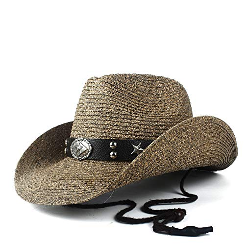 LQ-BNM Panamahut - strohoed, Western Cowboy zomer dames heer strand strohoed, Panama Cowgirl Jazz zonnehoed maat 56-58 cm