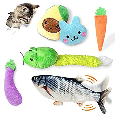 FAYOGOO 5Pcs Catnip Toys and Flippity Fish Cat Toy, Interactive Cat Toys for Indoor Cats, Kitten Toys, Cat Chew Toy Bite Resistant, Electronic Cat Kicker Toys for Kitty Exercise