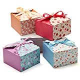 Hayley Cherie - Gift Treat Boxes with Ribbons (20 Pack) - Thick 400gsm Card - 5.8 x 5.8 x 3.7 Inches - Use for Cakes, Cookies, Goodies, Candy, Party Christmas, Birthdays, Weddings (Standard)