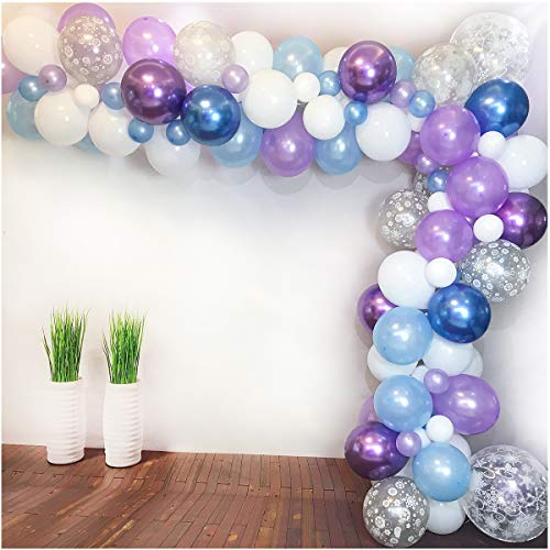Luvier White Blue Purple Latex Balloon Garland Arch Kit with Strip/ 102pcs Large to Small Party Balloons for Frozen Party/Winter Wonderland/Ice Princess/Baby Shower Decoration (Snow-Blue)