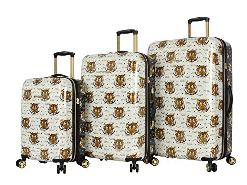 Betsey Johnson Designer Luggage Collection - Expandable 3 Piece Hardside Lightweight Spinner Suitcase Set - Travel Set includes 20-Inch Carry On, 26 inch and 30-Inch Checked Suitcase (Tiger Print)