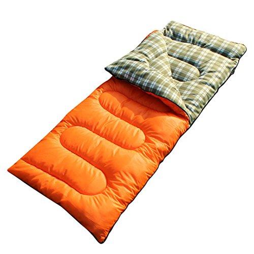 HM&DX Saco de Dormir Rectangular Adultos Invierno Tiempo frío Impermeable Abajo de algodón Bolsa de Dormir Saco de compresión Hiker mochilero Viajar Actividades al Aire Libre -Naranja