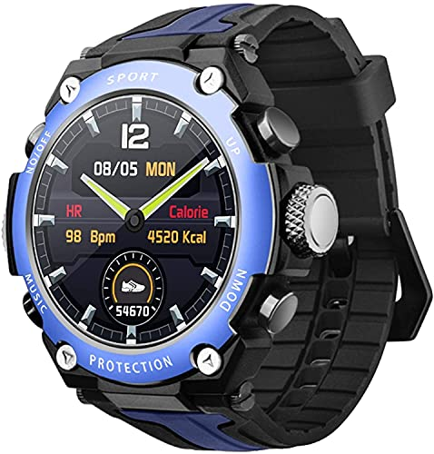 QHG Bluetooth Music Sports Smart Watch Altitude Diving Compass Watch Rate Heart Rate Presión Arterial Medición Fitness Hearth Watch para Android & iOS (Color : Blackblue)