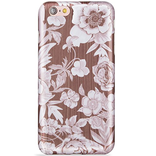 LUMARKE iPhone 6 Plus Case,iPhone 6s Plus Case,Cute Wood and Floral for Girls Women Slim Glossy TPU Clear Bumper Soft Rubber Silicone Best Protective Phone Case Cover for iPhone 6 6s Plus
