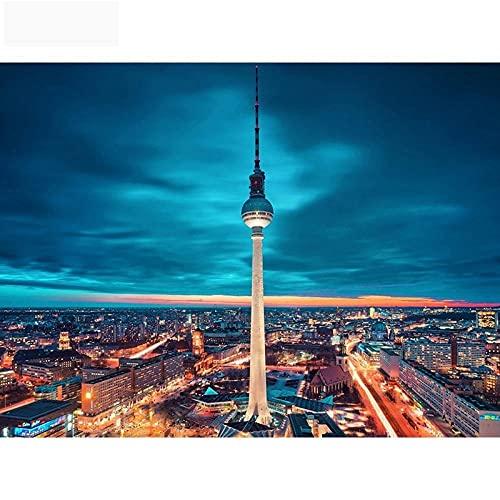 kpeto Taladro redondo completo mosaico pintura 5d DIY pintura de diamante paisaje bordado diamante Berlín TV torre decoración taladro redondo 40 x 50 cm