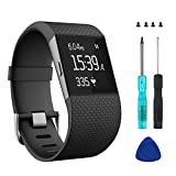 Wizvv Compatible Bands Replacement for Fitbit Surge, with Metal Buckle Fitness Wristband Strap Women Men Large Small (Black,Large)