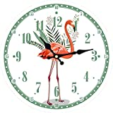 BRYSJ Flamingo Clock Animal Beautiful Flower Baño Cocina Reloj de Pared Reloj Redondo silencioso para Sala de Estar Dormitorio-A, 6 Pulgadas (15 cm)