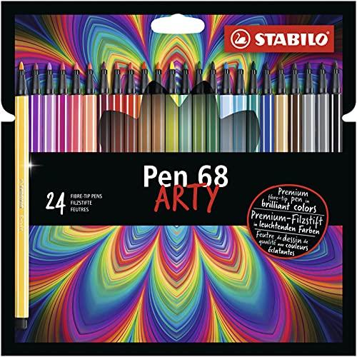 Caneta Hidrográfica Stabilo Pen 68 Arty, Estojo com 24 cores