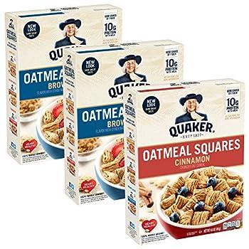 Quaker Oatmeal Squares Breakfast Cereal Brown Sugar & Cinnamon Variety Pack  3 Pack   00030000562437