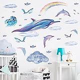 whmyz Pegatinas de Pared Rainbow Cloud Dolphins Habitación para niños Decoración de Acuario Papel Autoadhesivo 30 * 90cm * 2PCS