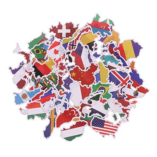ZOUCY Nationalflaggen Aufkleber, 50X Nationalflaggen Aufkleber Spielzeug Länder Karte Aufkleber DIY Scrapbooking Koffer