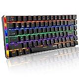 AK33 Tastiera meccanica Bluetooth Gaming Wireless & Wired due modalità, 3 canali di connessione Bluetooth, 18 Rainbow Backlit, 82 tasti anti-ghosting (interruttore blu, nero)