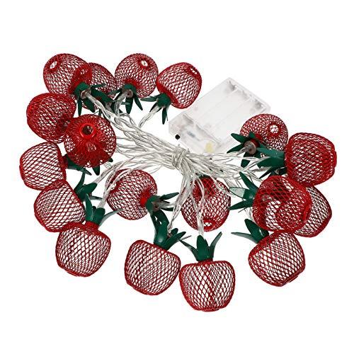 SOLUSTRE 1 juego de guirnaldas luminosas con 10 luces LED de color rojo cálido, manzana, hierro, funciona con pilas, forma de fruta, cadena de luces LED, decoración sin batería