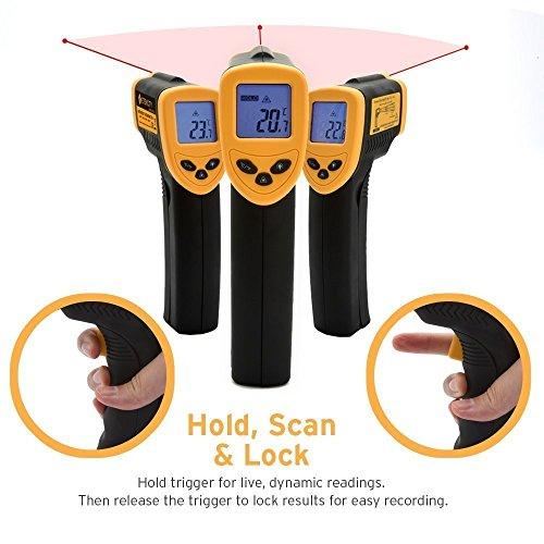 Etekcity Thermomètre Infrarouge sans Contact Laser de -50°C à 380°C, Précision Haute, Lecture Instantanée, Arrêt Automatique, Ecran LCD Rétroéclairé, Impossible de mesurer la température corporelle