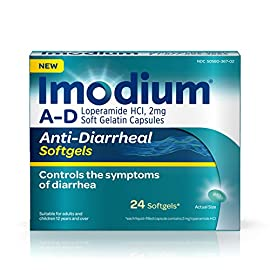 Imodium A-D Anti-Diarrheal Softgels with Loperamide Hydrochloride, Diarrhea Relief Medicine, 24 ct. 5 24-count package of Imodium A-D Anti-Diarrheal Softgels with loperamide hydrochloride to help control and effectively treat diarrhea symptoms, often in just one dose The proven formula of this adult anti-diarrheal medicine works with your body to slow down your system and restore its natural rhythm and balance so you can get back to doing the things you love Each softgel capsule contains 2 milligrams of loperamide hydrochloride to help control symptoms of diarrhea due to acute, active and Traveler's diarrhea