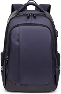 Backpack Men's Leisure USB Mens Backpack Breathable Wear-Resistant Business Computer Bag Travel Bag School Bag. XFGBTJKYAUu (Color : Purple, Size : 18 Inches)