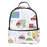 TIZORAX Beep Car in City - Mochila para ordenador portátil, mochila de hombro para estudiantes, mochila escolar y bolso de mano, ligera