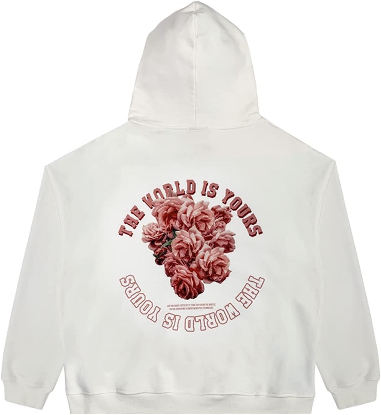 Back to Wild Floral Print Thicken Hoodie Fashion Broken Patch Sweatshirt Loose Hip Hop Streetwear Jacket (Color : White, Size : Medium)