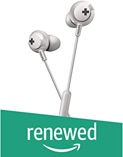 (Renewed) Philips Bass+ SHE4305 Headphones with Mic (White)