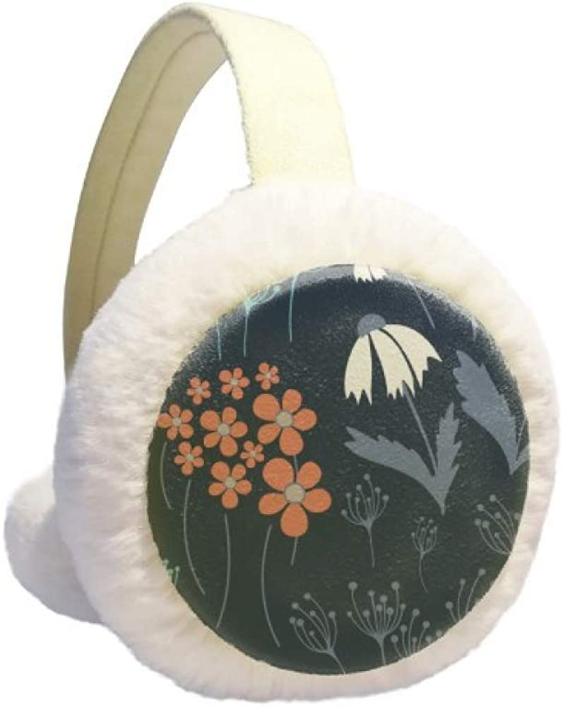 Powder Blue Flower Plant Paint Winter Earmuff Ear Warmer Faux Fur Foldable Plush Outdoor Gift