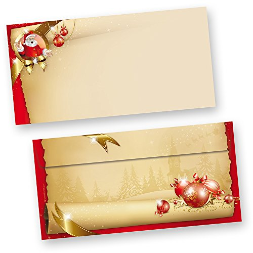 Briefumschläge Weihnachten Santa Claus 50 Stück DIN lang ohne Fenster stimmungsvolle Umschläge für Briefe und Einladungen, beidseitig bedruckt