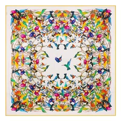 AHUIOPL 130 * 130Cm Marca de Lujo 100% Seda de Sarga Mujer Bufandas cuadradas Pájaro Que Paga Homenaje a la Bufanda de Seda Phoenix y Abrigos Hijab