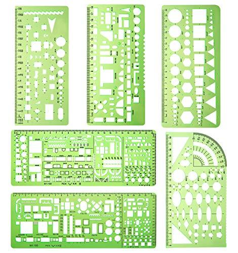 6 piezas Plástico Medida Regla Plantillas de dibujo Plantillas de encofrado de construcción Plantilla de círculo Reglas de dibujo geométrico para oficina y escuela (Verde claro)