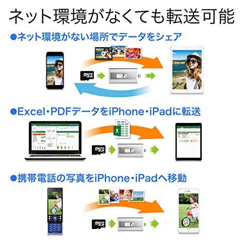 『サンワダイレクト iPhone iPad 対応 microSDカードリーダー Lightning / USB MFi認証 400-ADRIP08S』の2枚目の画像