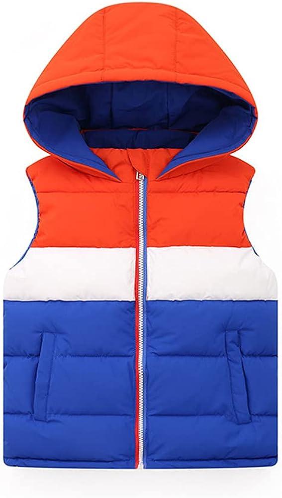 LittleSpring Boys Girls Winter Vest with Hood Sleeveless Full Zip Puffer Vest Jacket